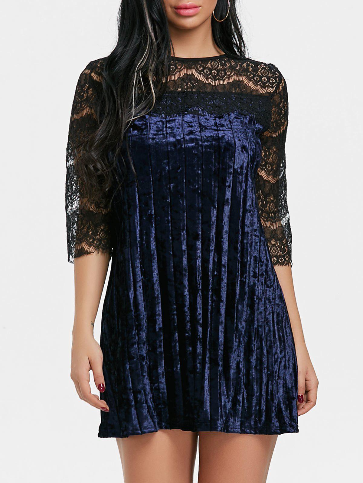 Fancy Lace Panel Pleated Velvet Dress