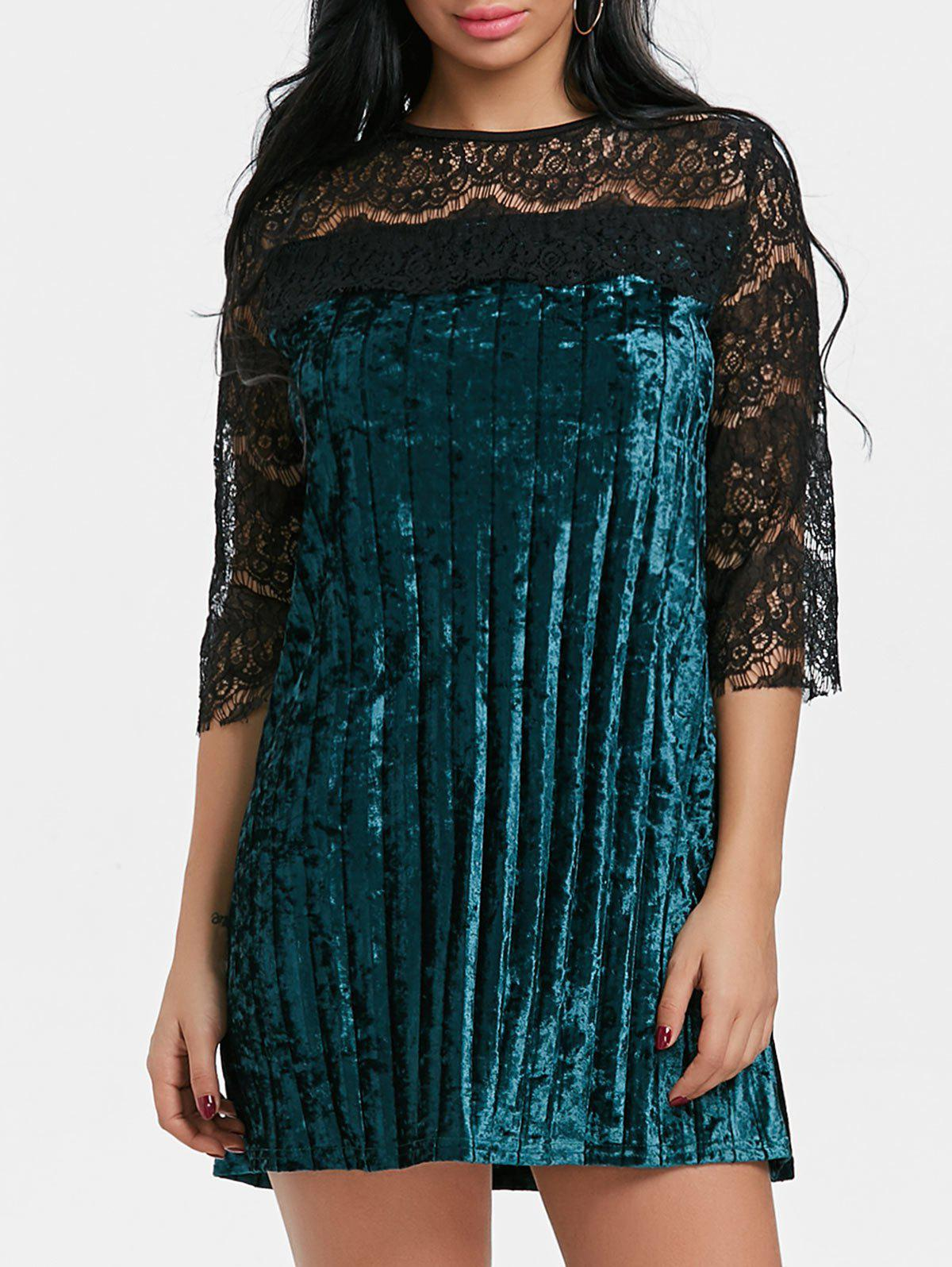 New Lace Panel Pleated Velvet Dress