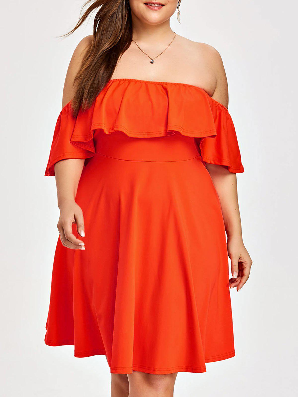 651a8272de9 38% OFF  Plus Size Flounce Off The Shoulder Dress