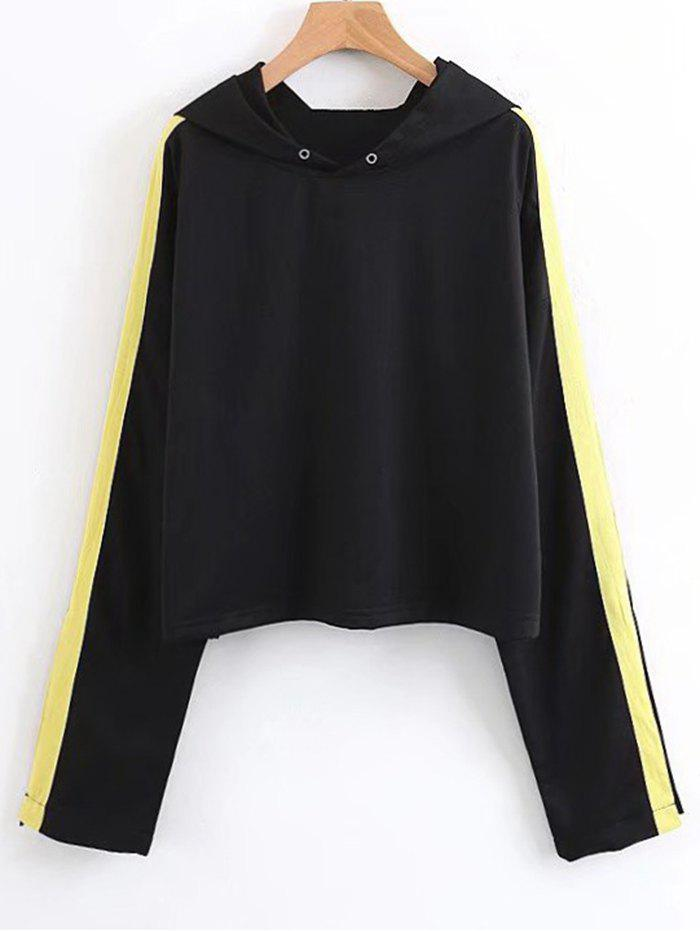 Affordable Ribbons Trim Open Sleeve Hoodie