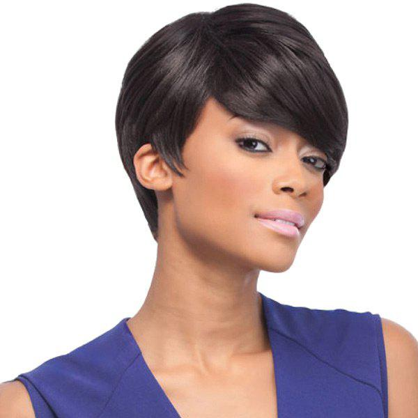 Unique Short Inclined Bang Straight Synthetic Fiber Wig