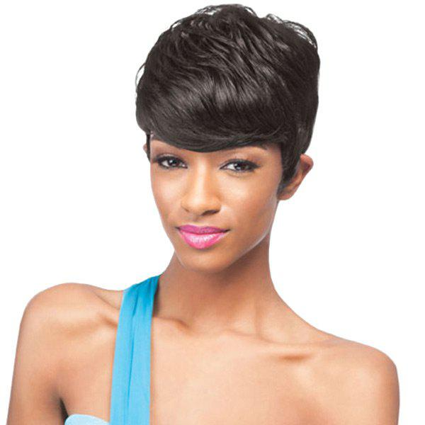Affordable Short Oblique Bang Layered Natural Straight Synthetic Wig