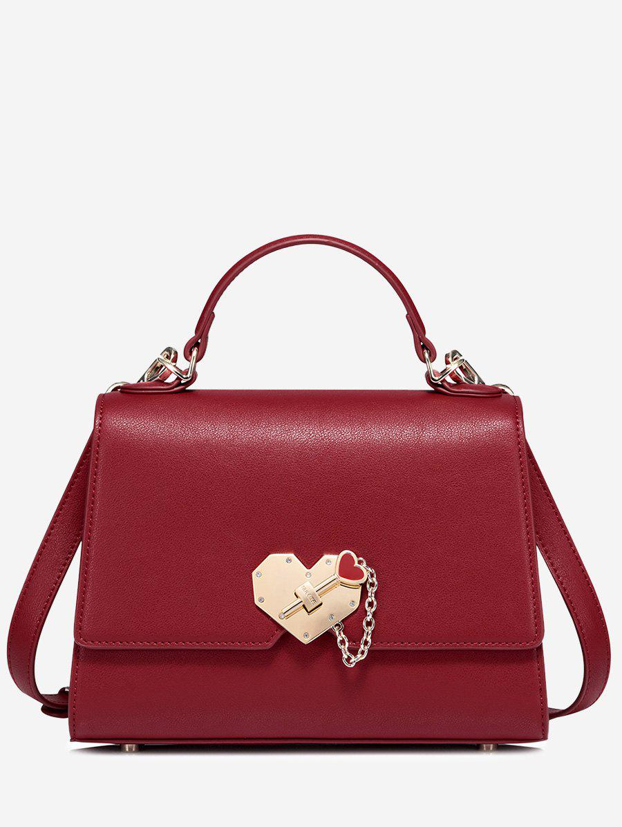 Fancy Metal Embellishment Heart Handbag