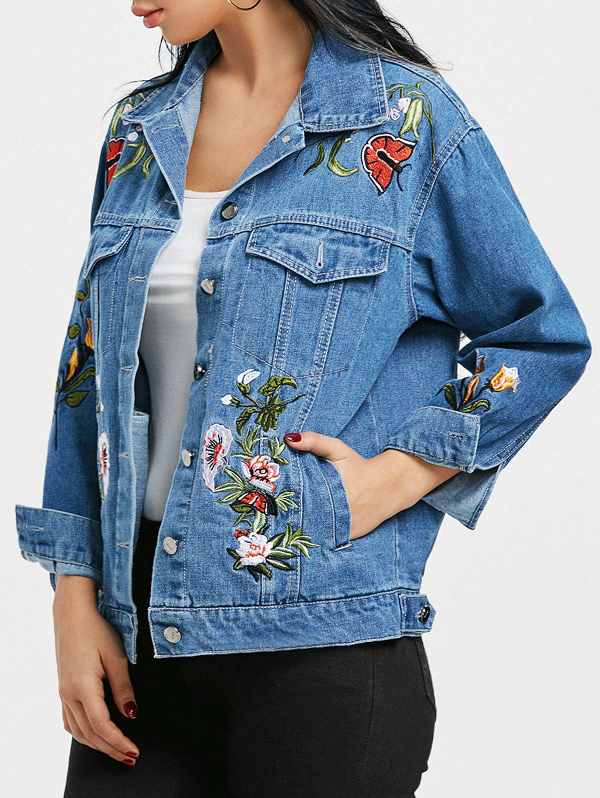 Affordable Floral Embroidery Jean Jacket