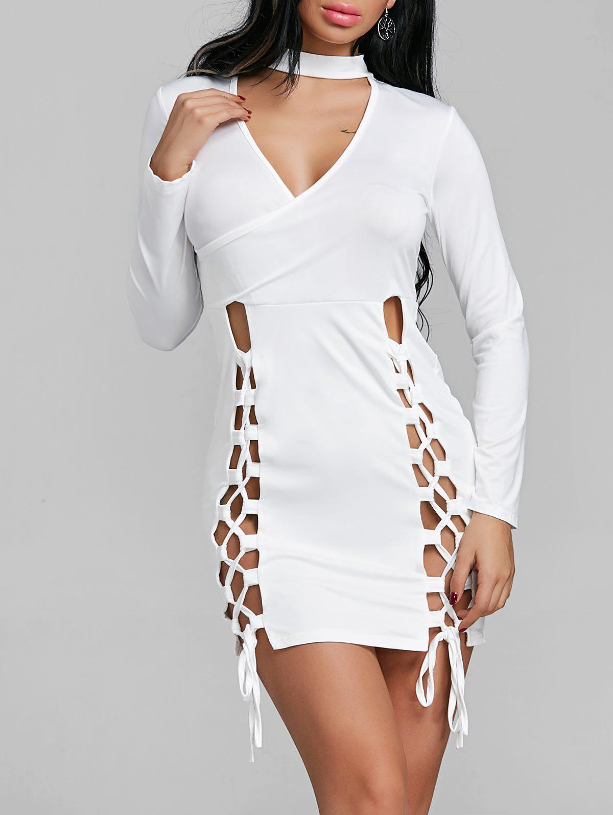 Discount Lace Up Keyhole Mini Bodycon Dress