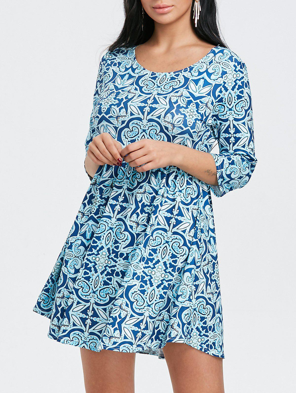 Hot Floral Printed Scoop Neck Mini Dress