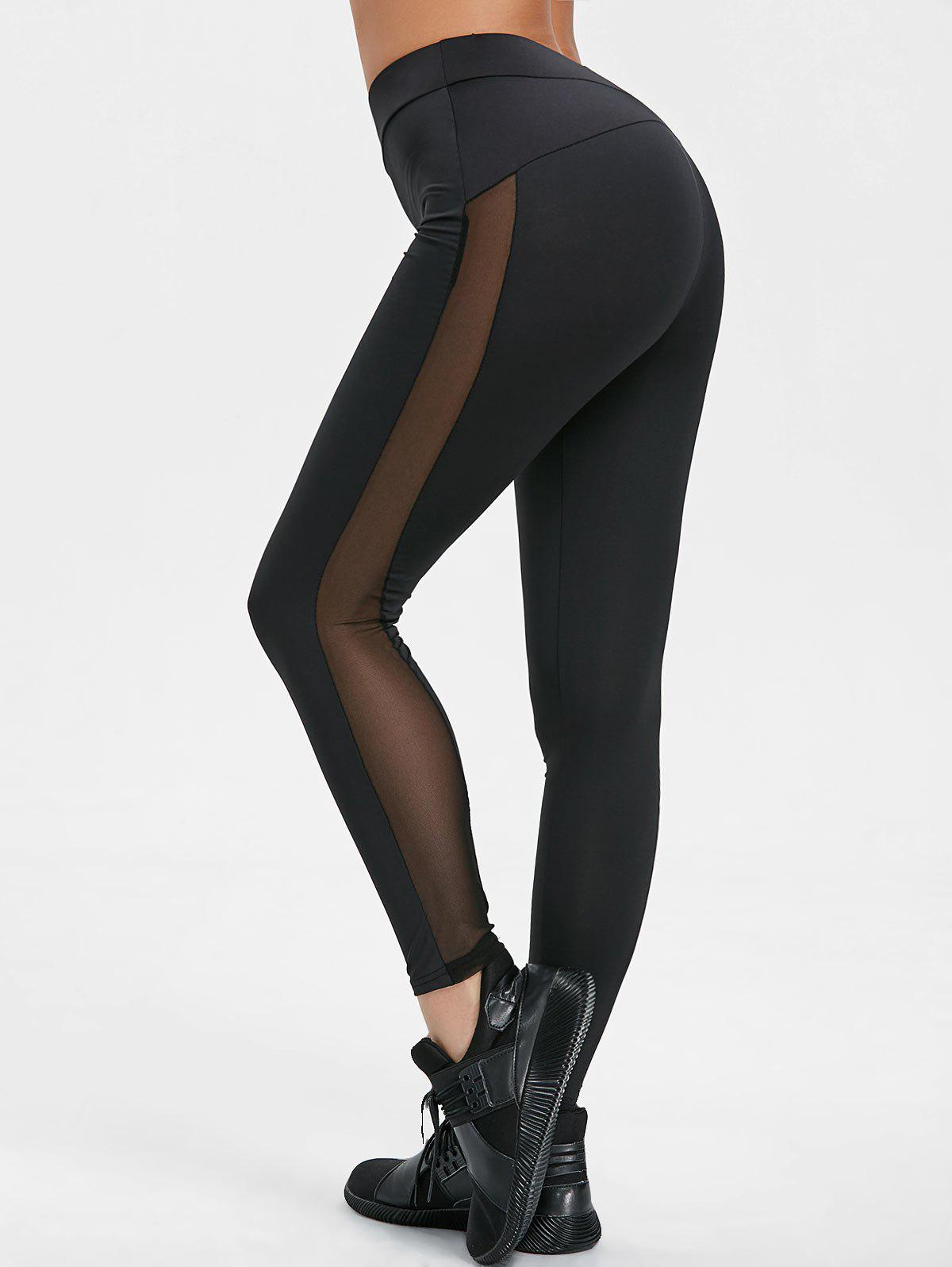 Discount High Waisted Mesh Insert Yoga Pants