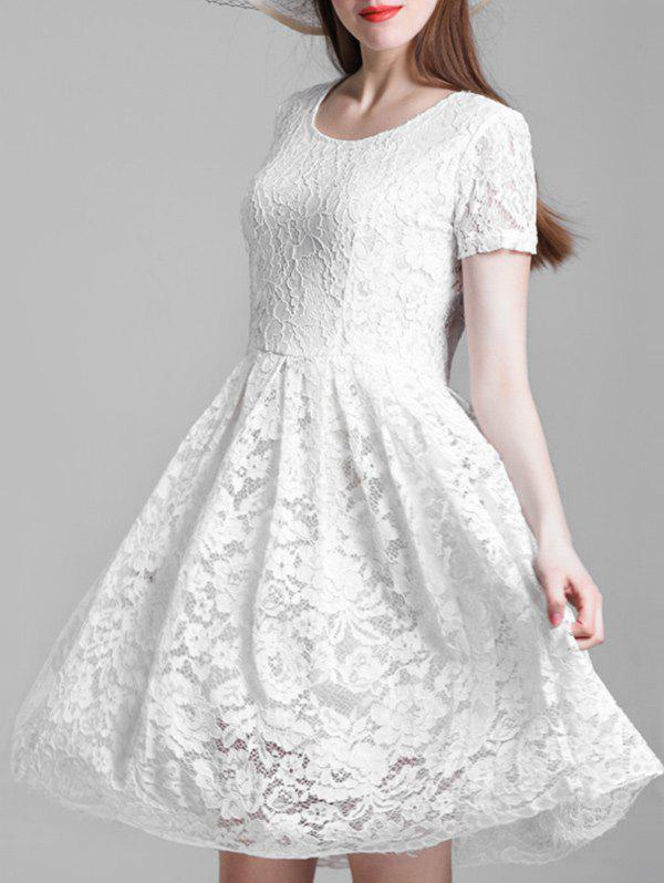 Discount Short Sleeve A Line Lace Dress