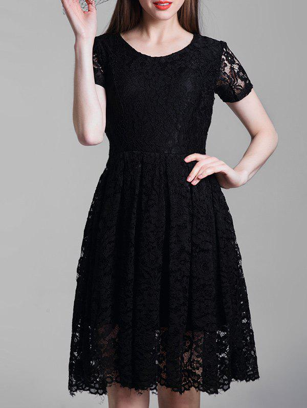 Unique Short Sleeve A Line Lace Dress