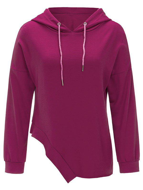Fancy Drawstring Asymmetrical Pullover Hoodie
