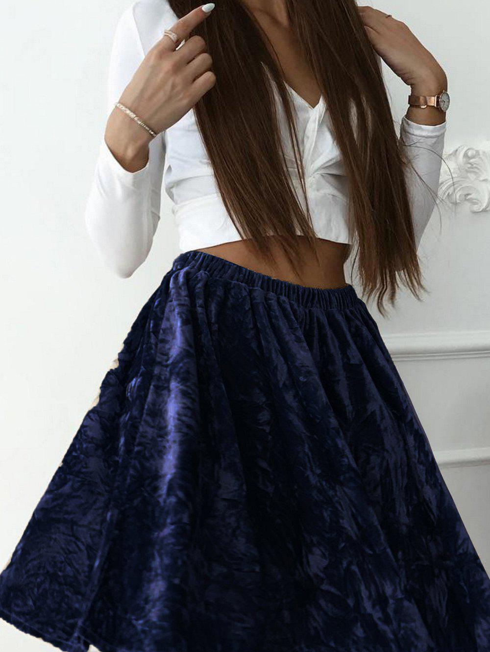 Trendy High Waist Velvet Skater skirt
