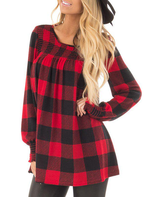 Unique Round Neck Checked T-shirt