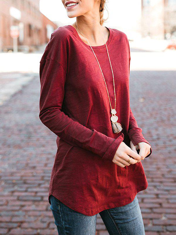 Buy Long Sleeve High Low Plain T-shirt