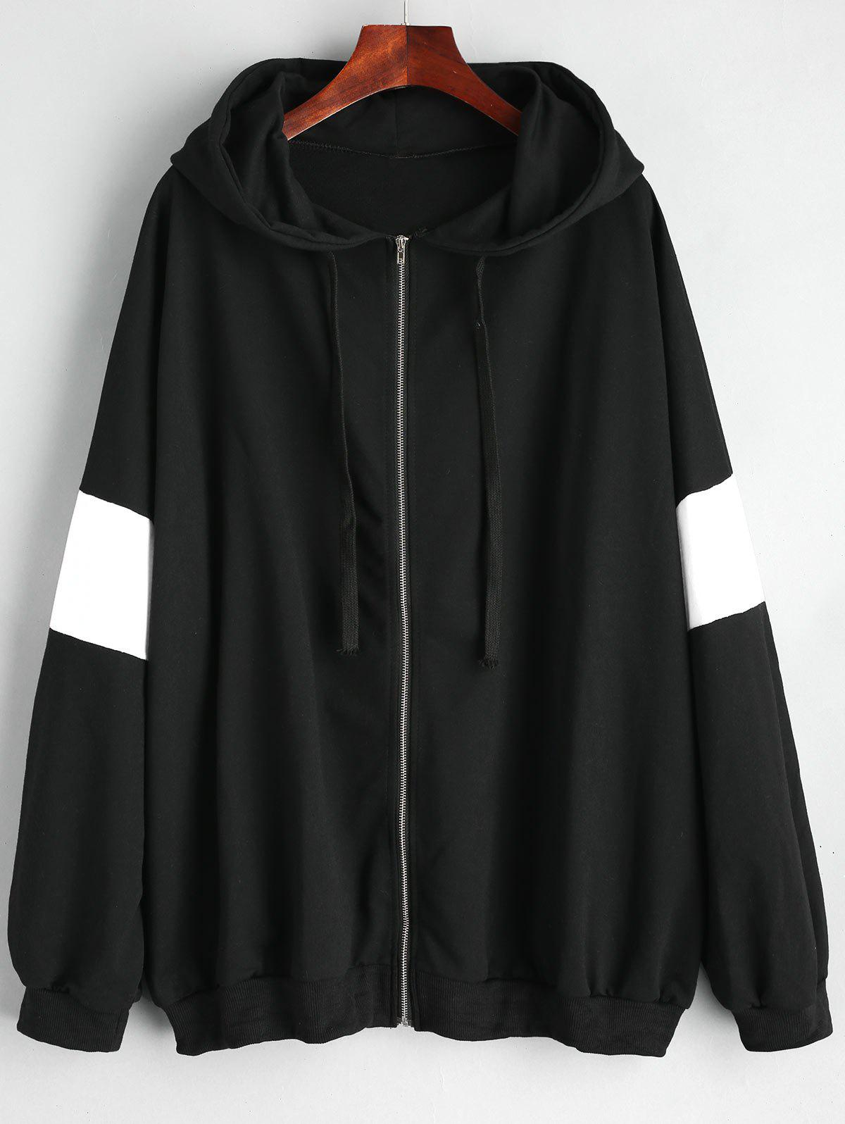 Latest Plus Size Monochrome Zip Up Hoodie