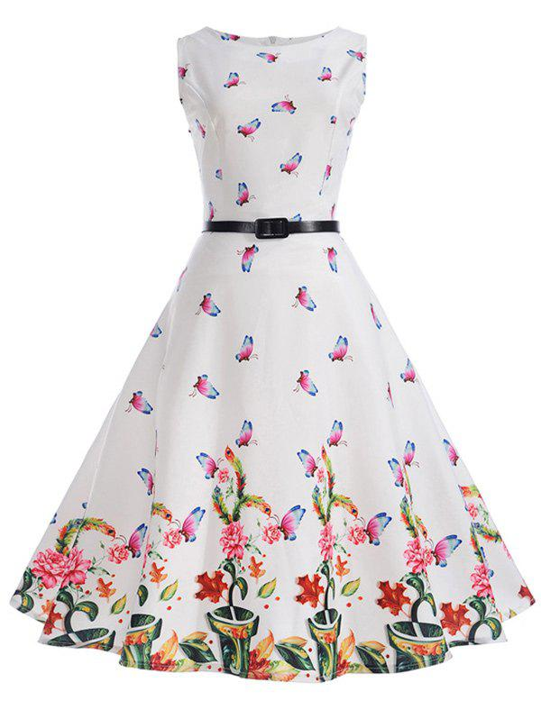 Chic Sleeveless Butterfly Print A Line Dress with Belt