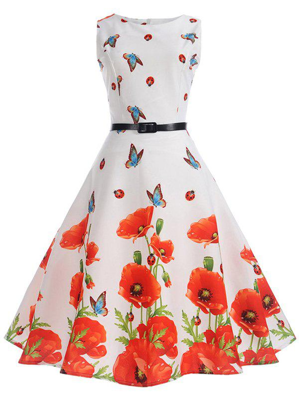 Outfits Sleeveless Butterfly and Floral Print A Line Dress