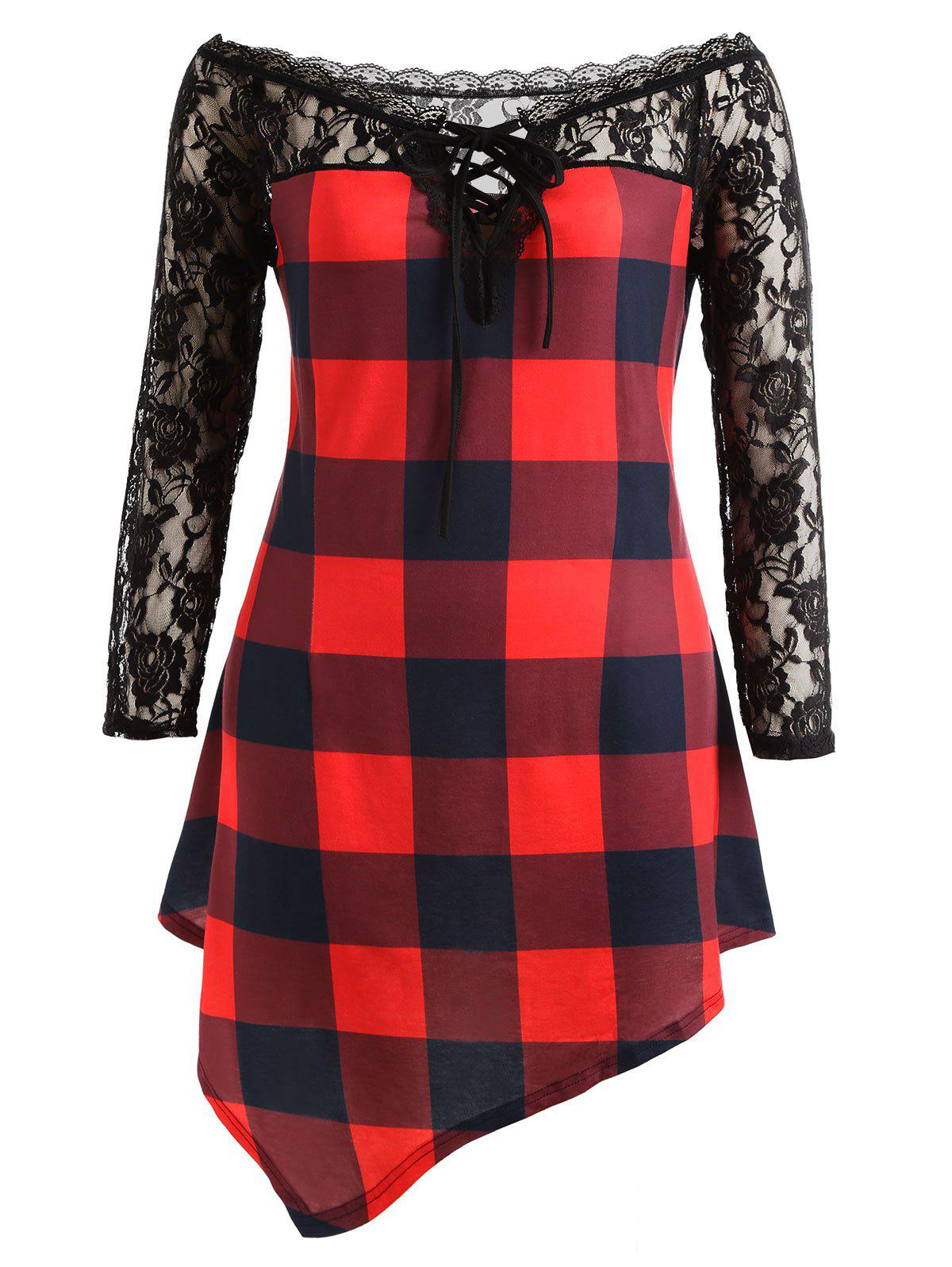Outfit Plus Size Lace Panel Tartan Asymmetrical T-shirt