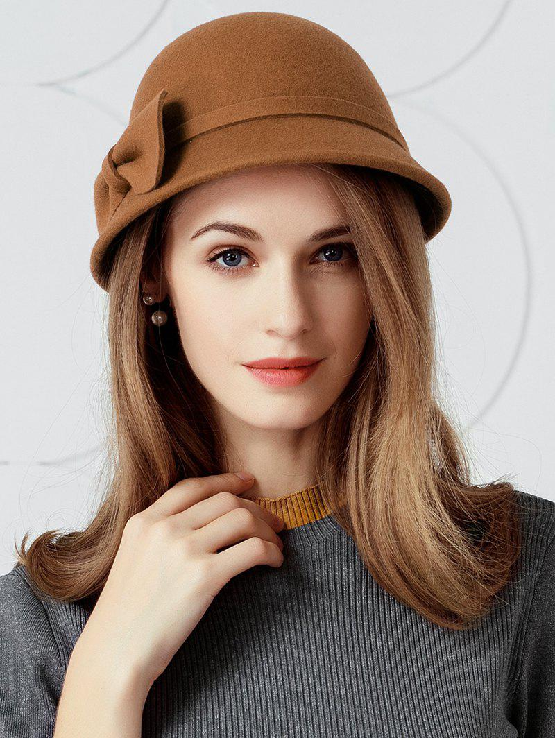 Unique Simple Bowknot Embellished Faux Wool Fedora Hat