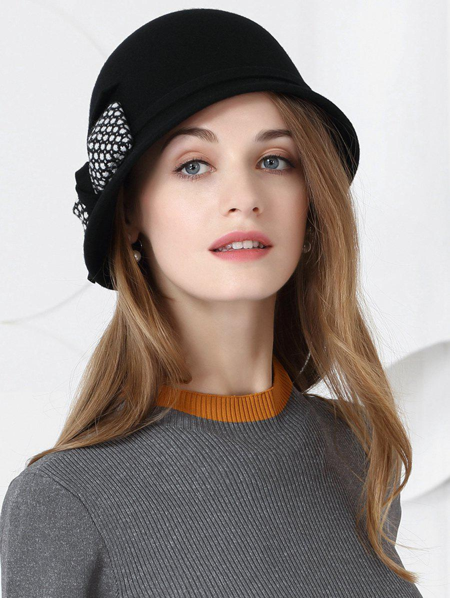 2019 Simple Bowknot Pattern Faux Wool Pillbox Hat  7d83455bbd3