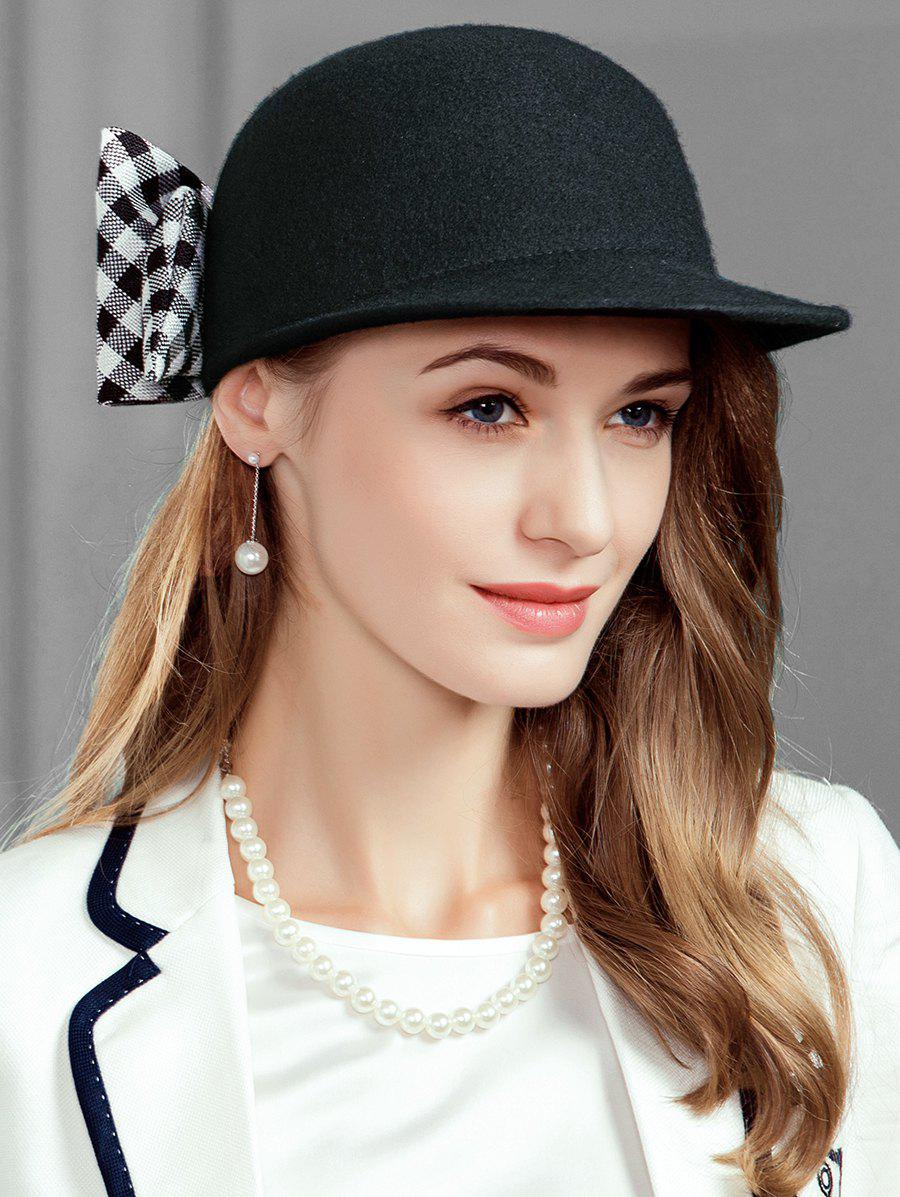 New Vintage Checkered Pattern Bowknot Embellished Pillbox Hat
