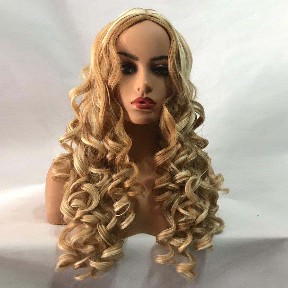 Trendy Long Center Parting Colormix Fluffy Body Wave Synthetic Wig