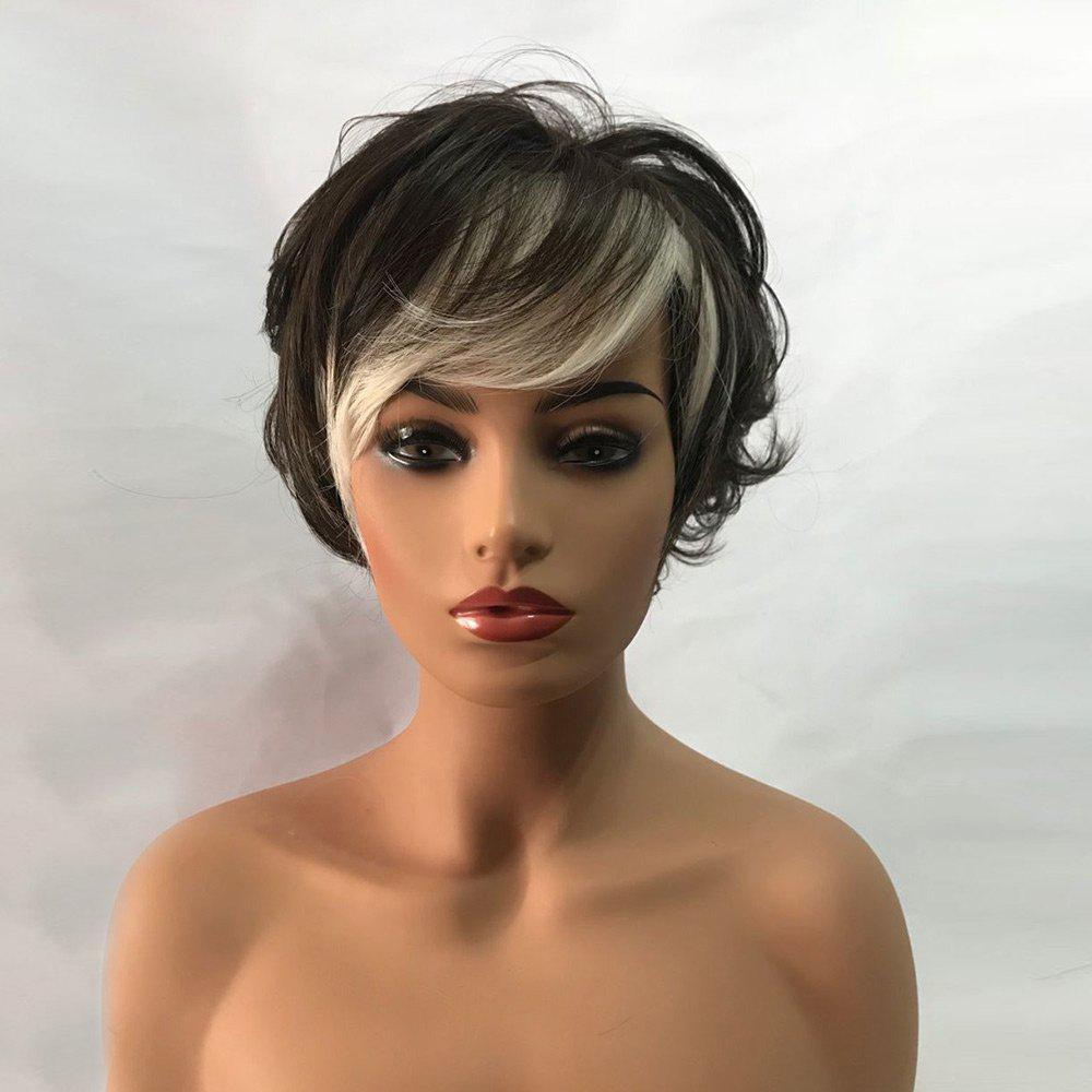 Fashion Short Side Bang Colormix Fluffy Layered Slightly Curly Synthetic Wig