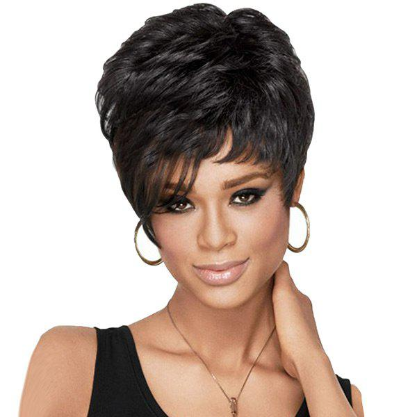 Outfit Short Side Bang Fluffy Layered Natural Straight Synthetic Wig