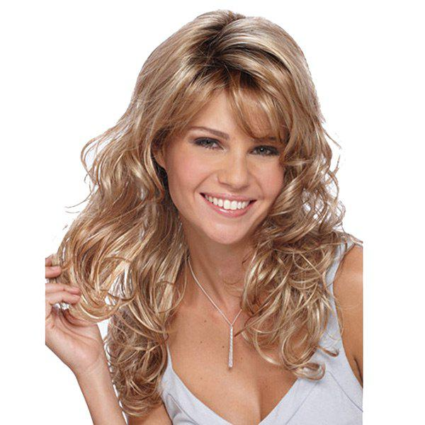 Chic Long Ombre Side Bang Fluffy Curly Synthetic Wig
