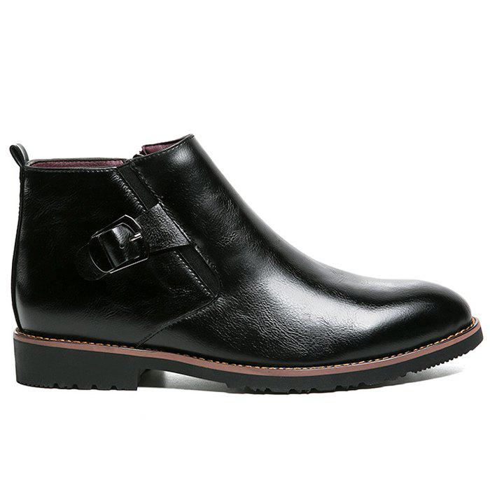 Unique Zip Buckle Pointed Toe Chukka Boots