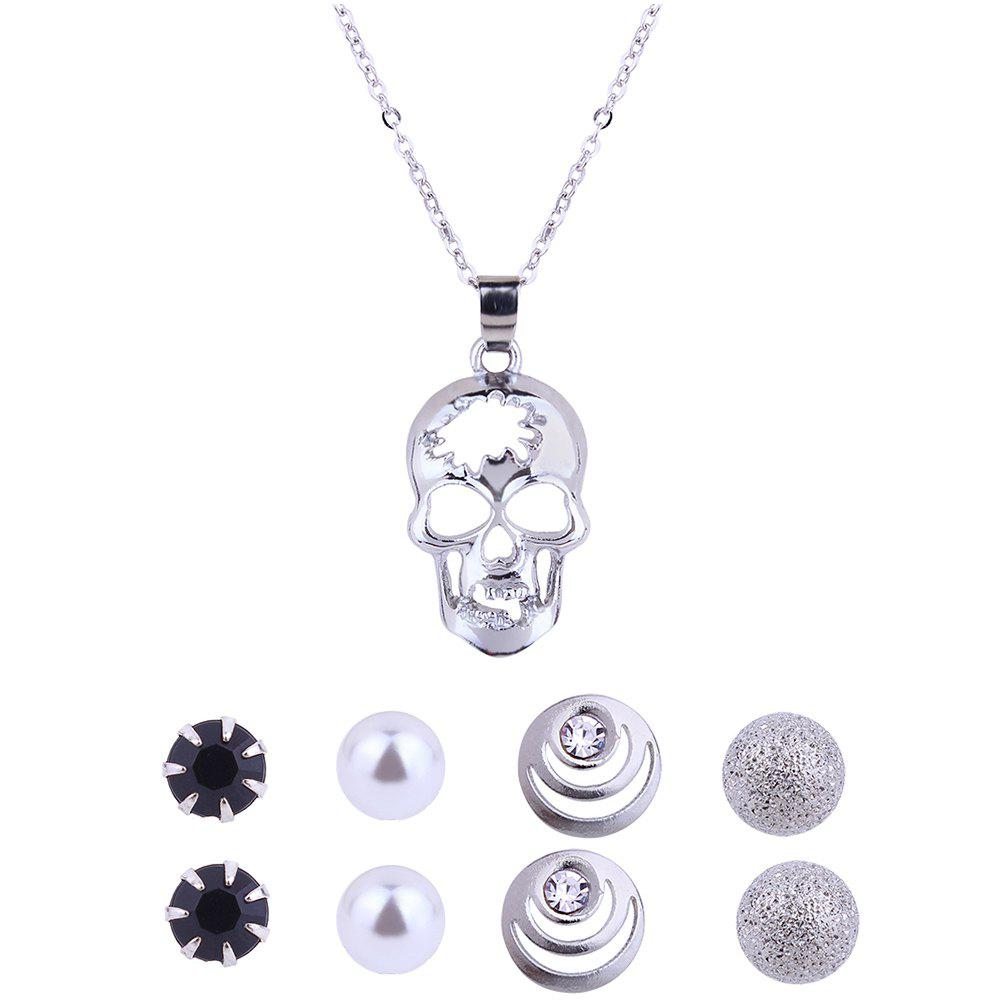 Affordable Hollow out Skull Necklace and Stud Earrings Set