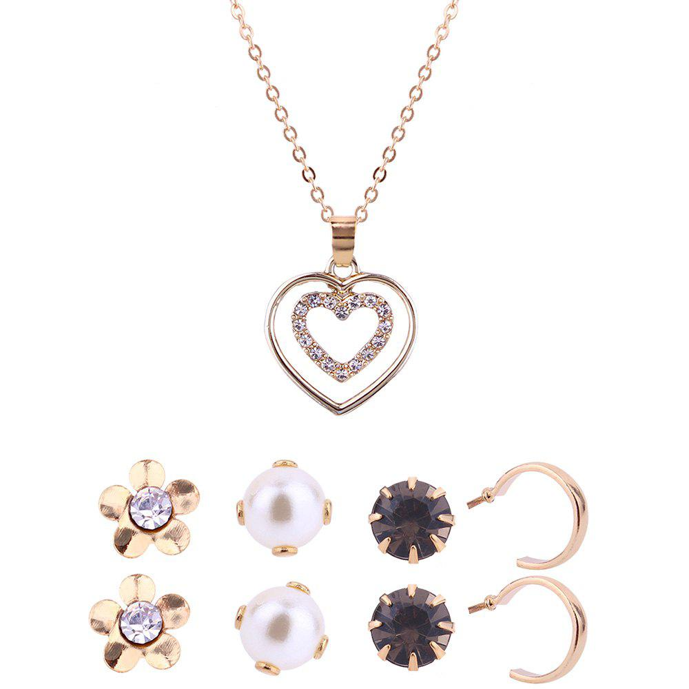 Affordable Heart Shape Necklace and Stud Earrings Set