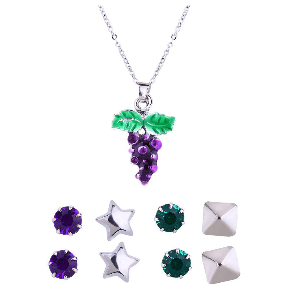 Discount Metal Grape Pendant Necklace and Stud Earrings Set