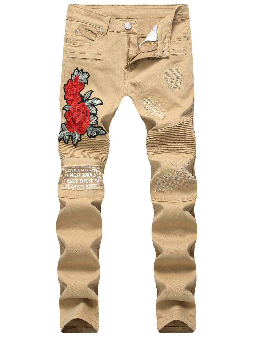New Floral Embroidery Distressed Biker Jeans