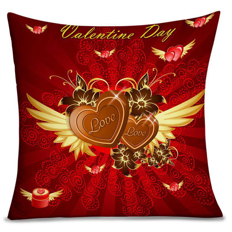 Chic Valentine's Day Heart with Wing Print Pillow Case