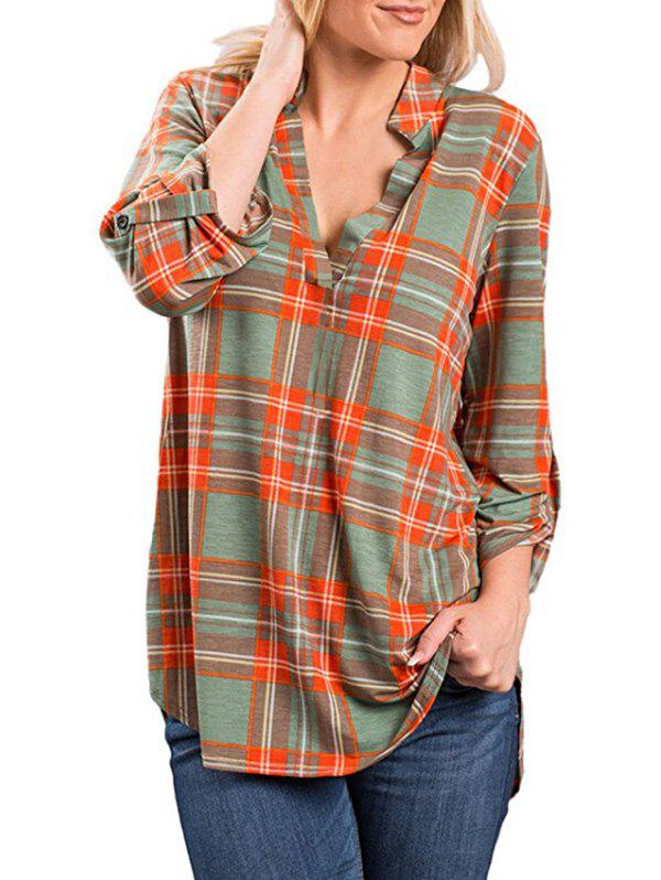New Checked V Neck Blouse