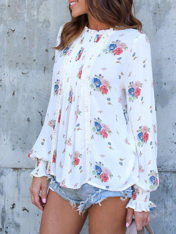 Best Long Sleeve Floral Print Chiffon Blouse