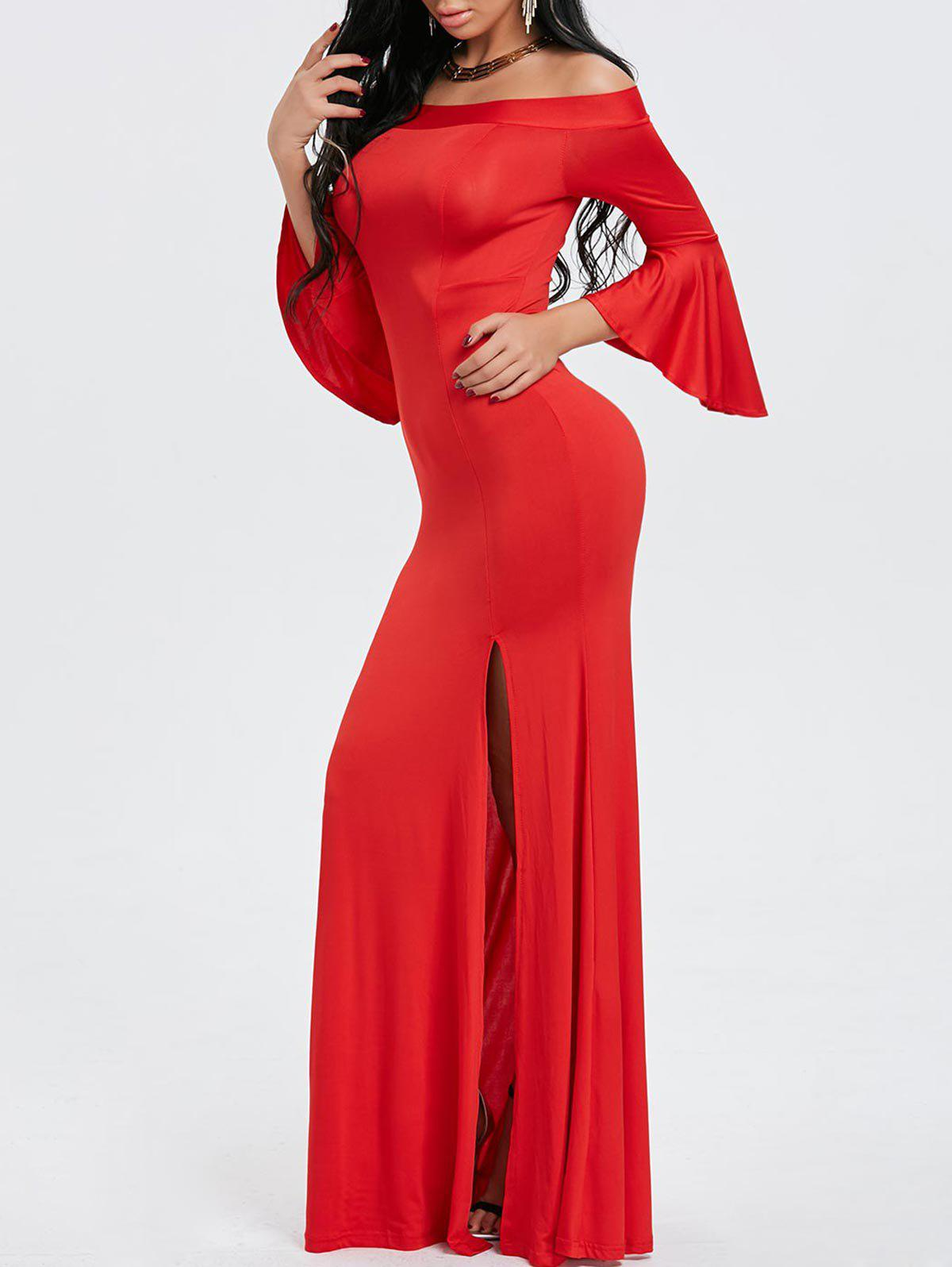 Shop Off Shoulder High Slit Maxi Evening Dress