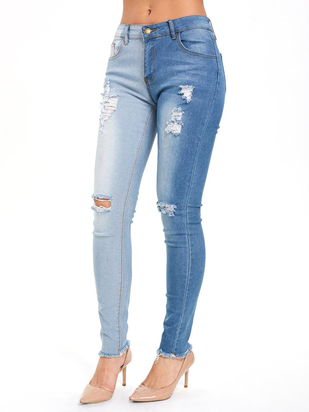Chic Color Block High Waisted Ripped Jeans