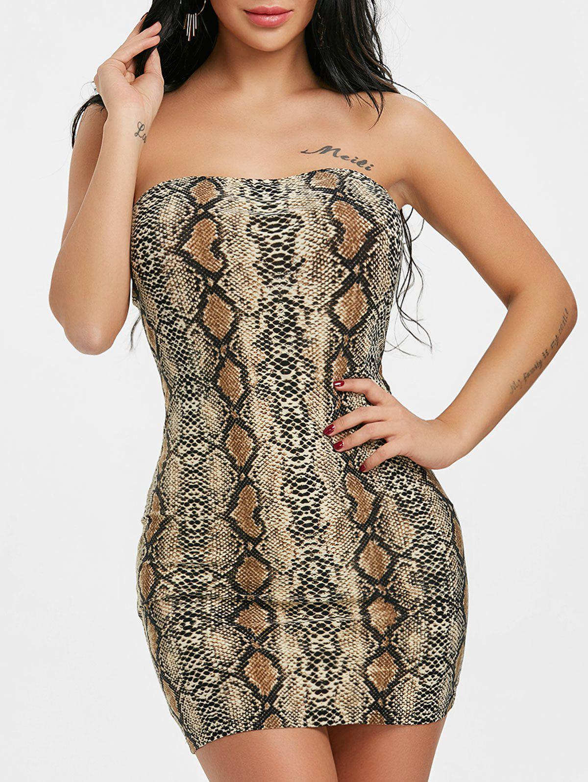 Affordable Snake Print Bodycon Tube Dress