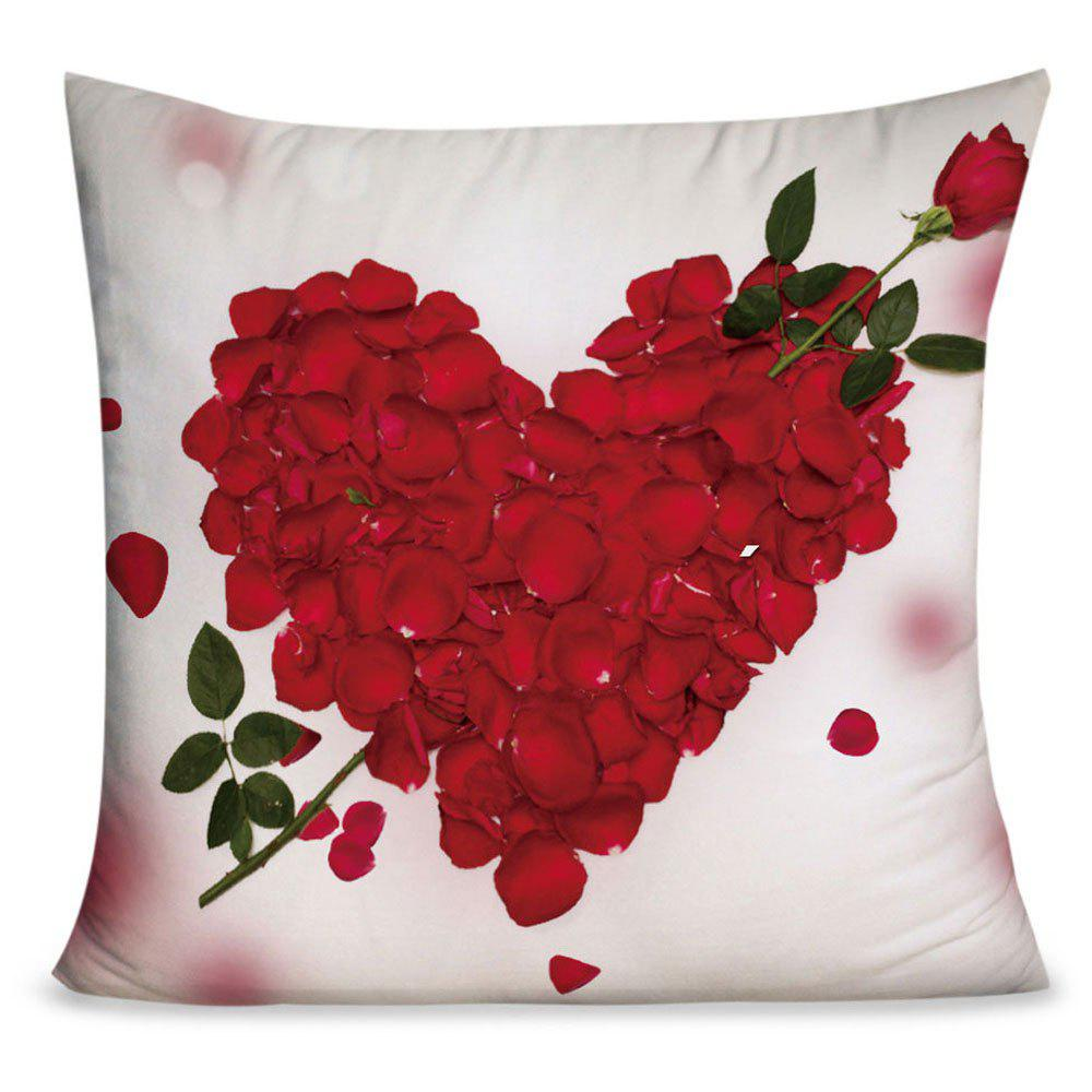 Shop Valentine's Day Rose Petals Heart Pattern Throw Pillow Case