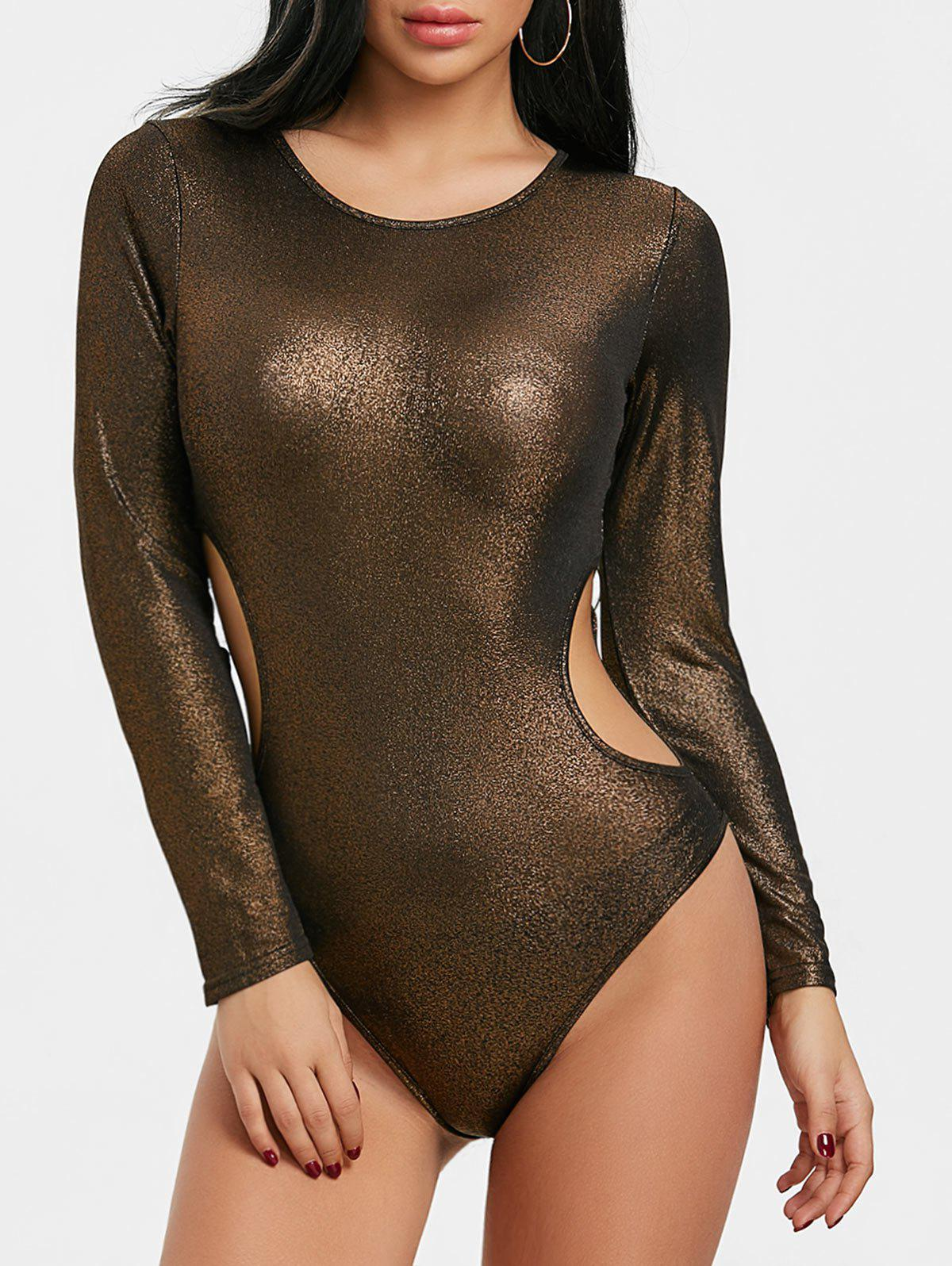Hot Long Sleeve Cut Out Metallic Bodysuit
