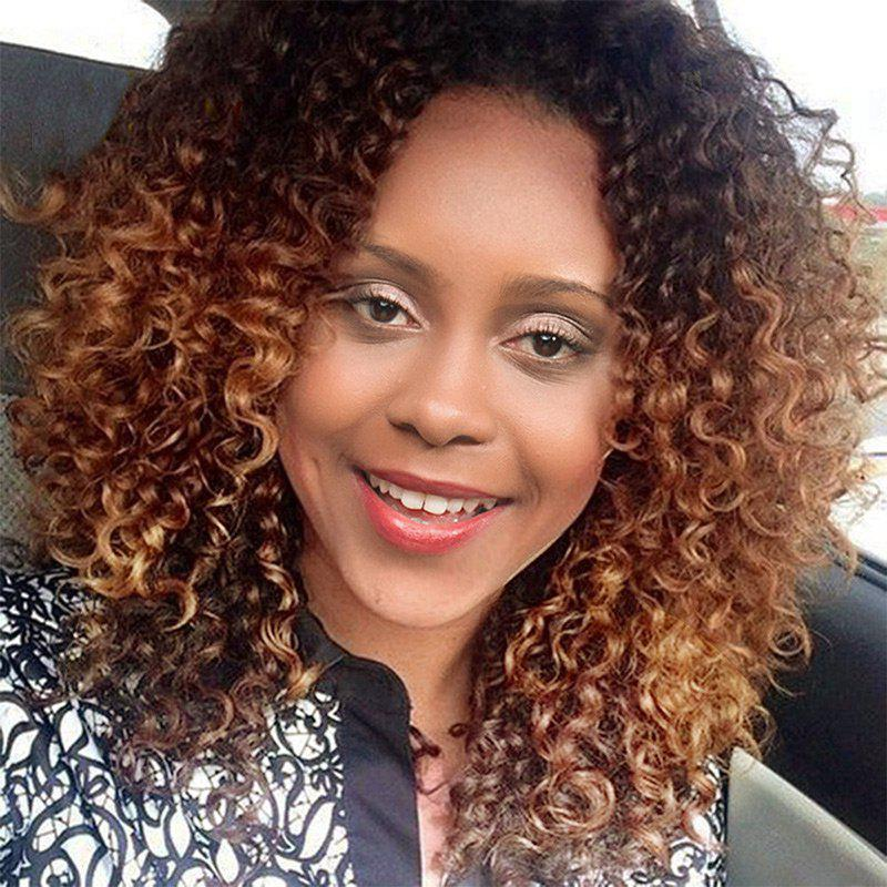 Affordable Long Side Bang Ombre Fluffy Afro Kinky Curly Synthetic Wig