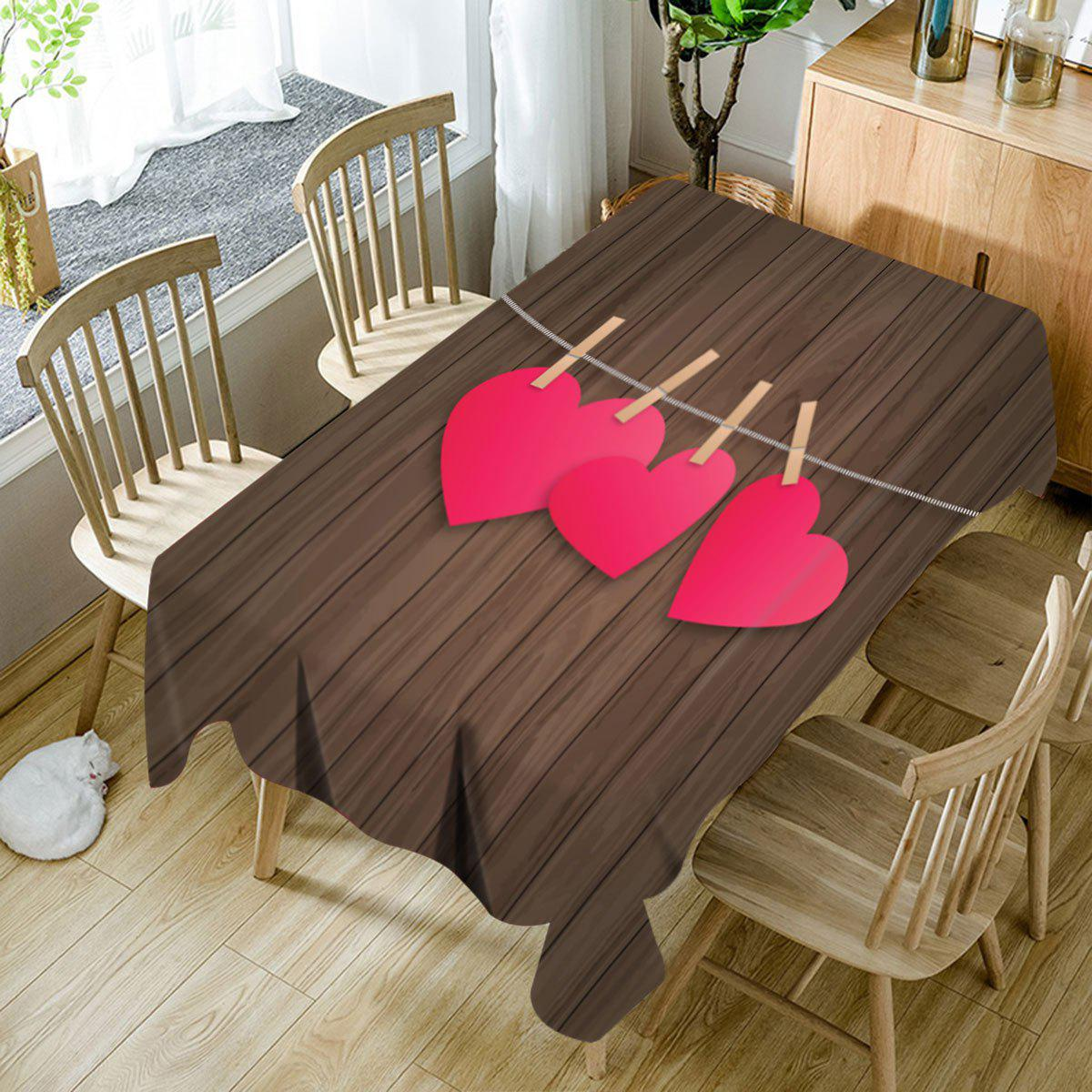 Unique Heart and Wood Grain Print Waterproof Table Cloth
