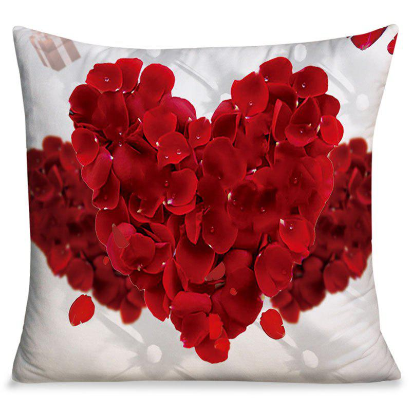 Cheap Valentine's Day Petals Heart Square Throw Pillow Case