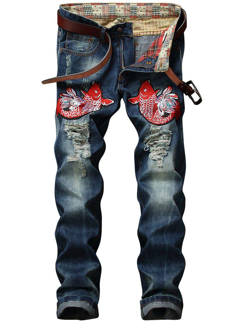 Buy Fish Embroidery Ripped Jeans
