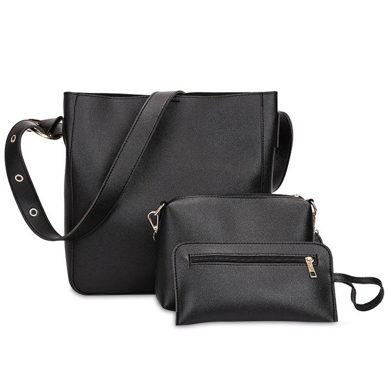 Fancy Faux Leather 3 Pieces Shoulder Bag Set