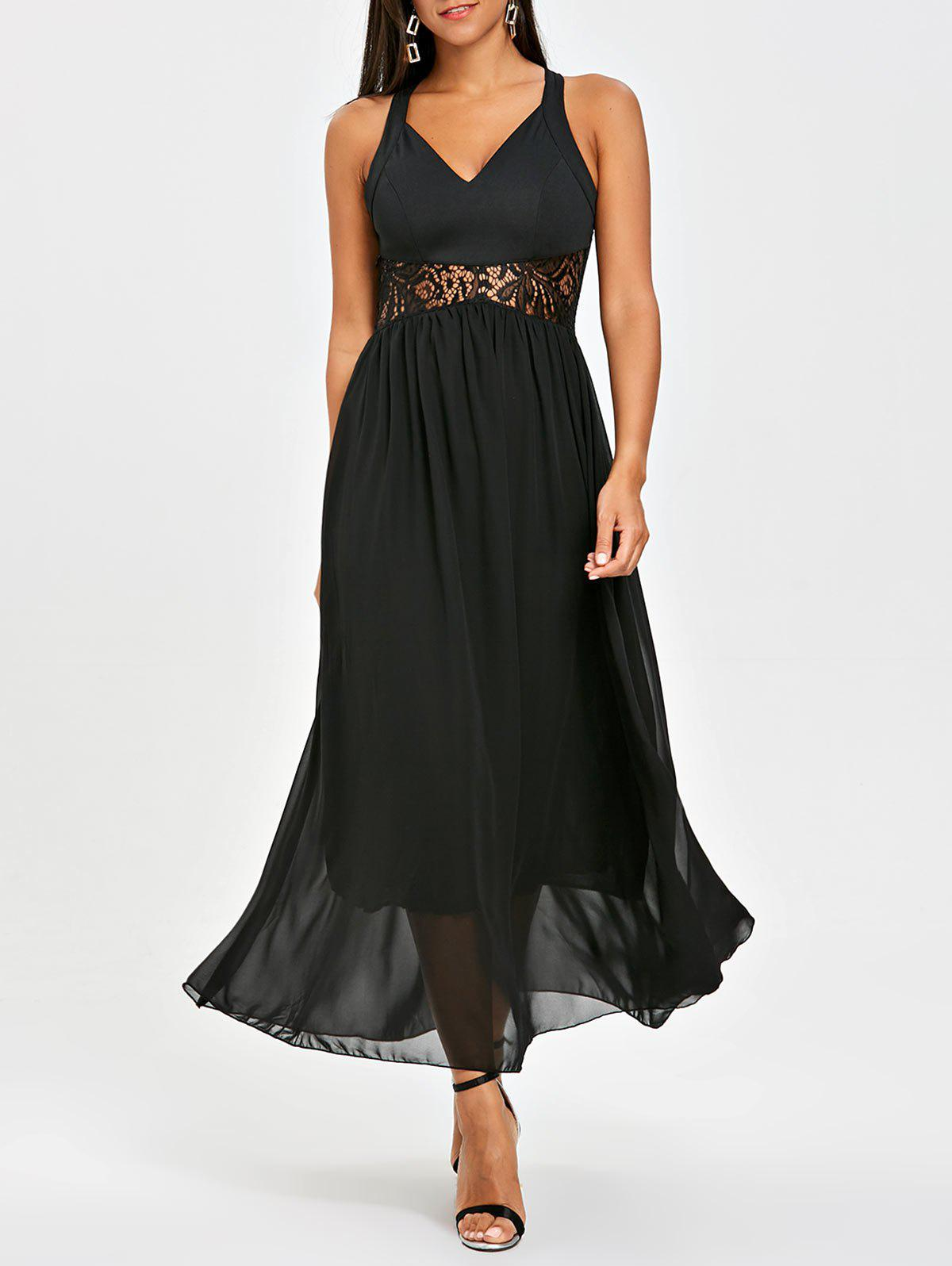 New Chiffon Racerback Lace Insert Long Dress