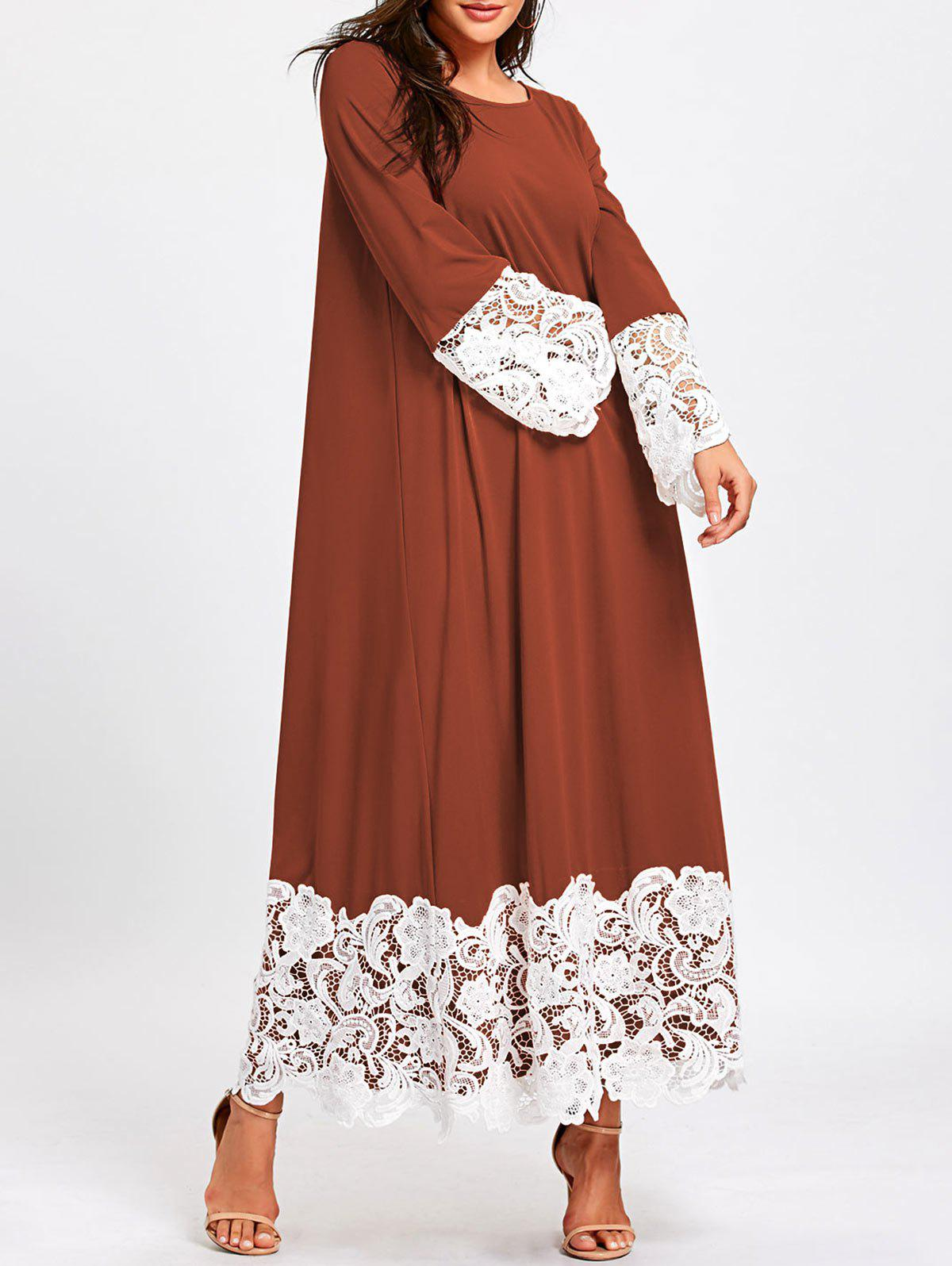 Best Long Sleeve Lace Trimmed Maxi Shift Dress