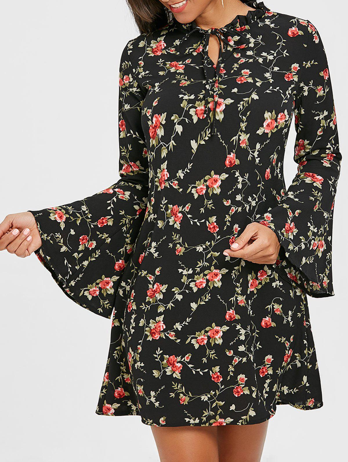Fashion Bell Sleeve Floral Print Mini Dress