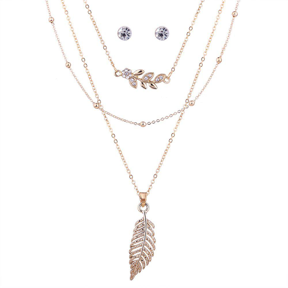Cheap Rhinestone Leaf Necklace and Earring Set